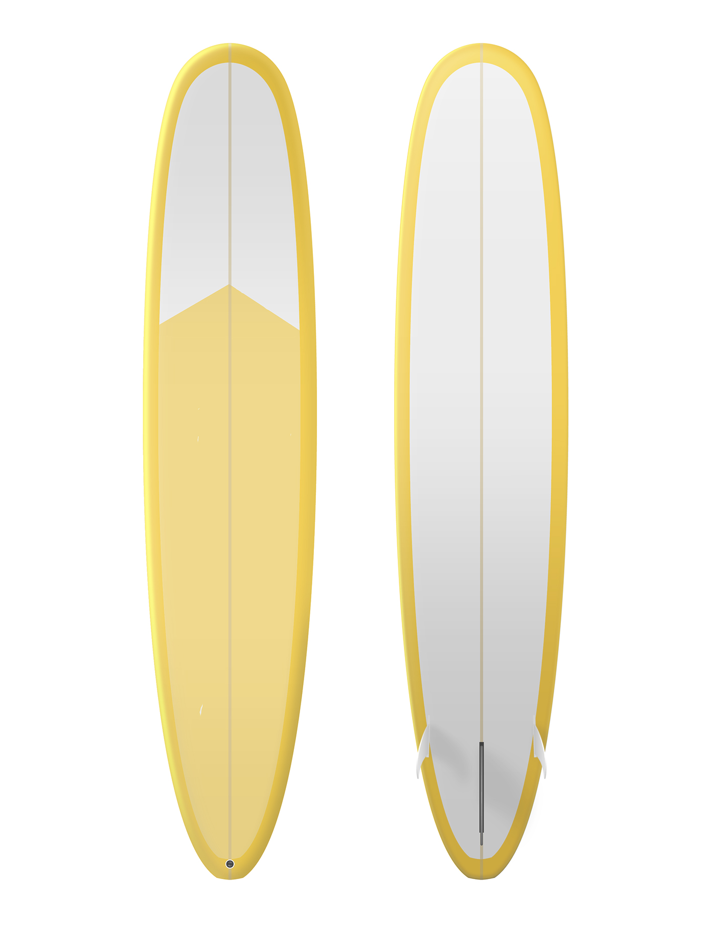 Yellow and white surfboard