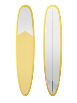 planche de surf jaune et blanc