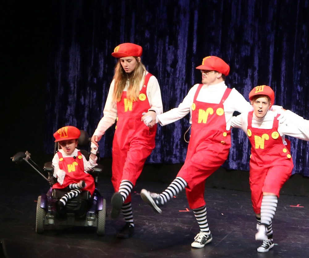 Christina (right) in the AWO production of Charlie and the Chocolate Factory.