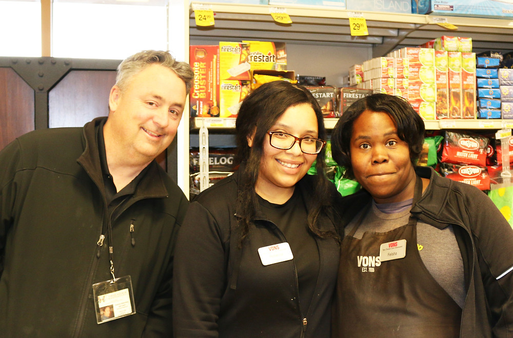 Felisha's TMI Job Coach Andrew Palasciano, Felisha and VONS Store Supervisor Rebecca