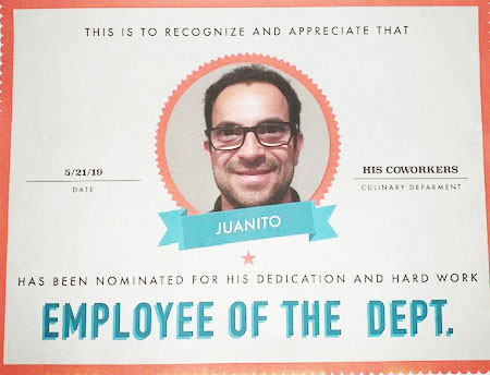 Juan's Employee of the Department Certificate