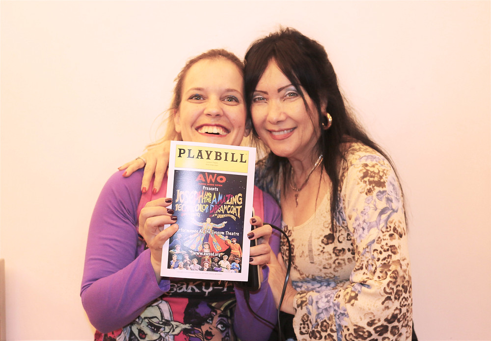 Christina with her mom, Marina, after the AWO production of Joseph and the Amazing Technicolor Dreamcoat.
