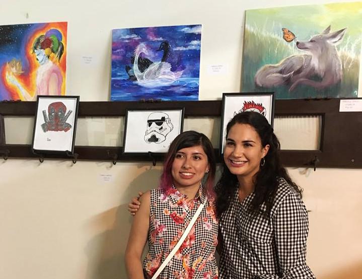 Marcela with her TMI Facilitator Faviana at the art show