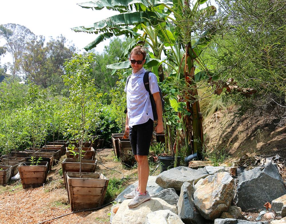 Scott watering the garden