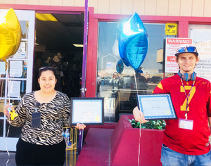 TMI Clients Susana and Kevin Were Awarded by Tim for Their Perfect Attendance