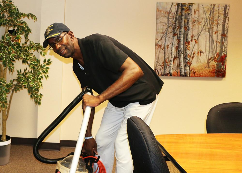 David is a master at vacuuming
