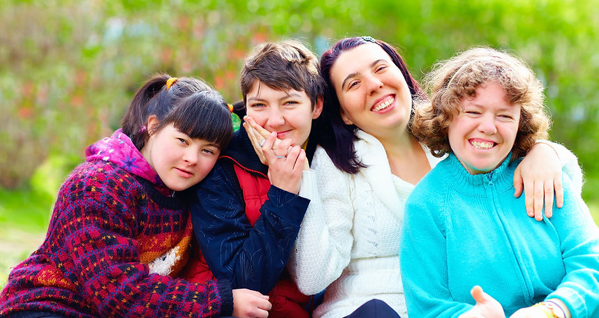 Group Of Happy Women With Disability Hav