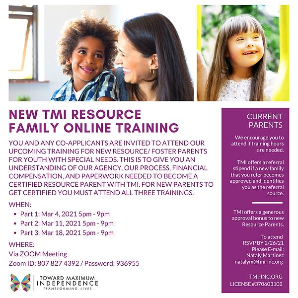 TMI NEW RESOURCE PARENT TRAINING - MARCH
