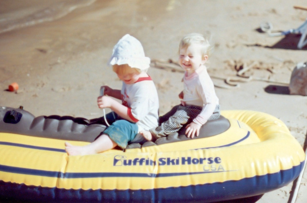 Melinda with her sister when they were children. We love it!