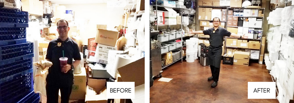 Juan showing the before and after of the storage room.