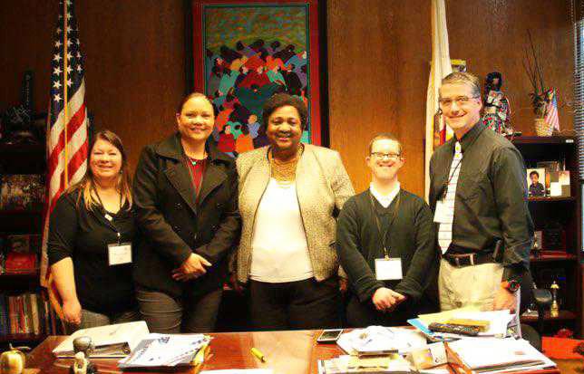 Rachel Harris with Assemblywoman Dr. Shirley Weber, advocates and representatives