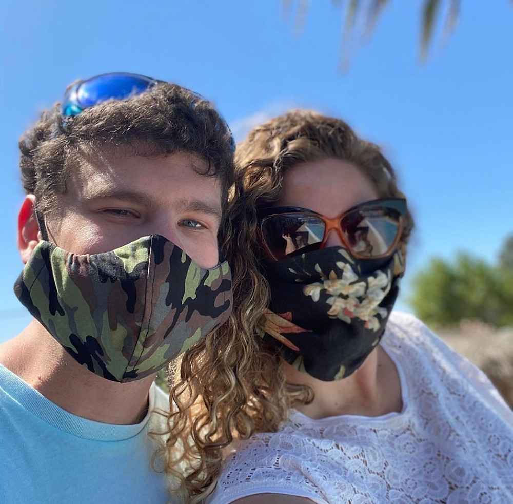 Nick and Friend wearing masks