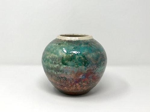 Raku Vase Turquoise and Copper