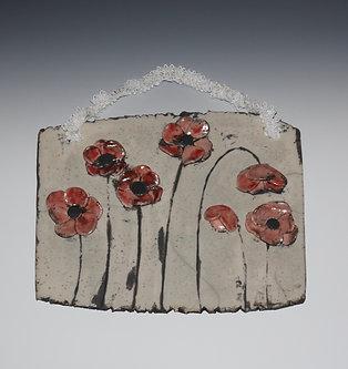 Raku Wall Hanging, Poppies