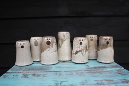 Raku Ghost Candle Holder-Small