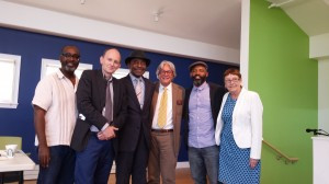 From left to right: Stephen Burrell of Even Keel Productions, SCotA principal David Brewster, jazz legend Archie Shepp, MIFA Executive Artistic Director Don Sanders, Professor Christopher Tinson of Hampshire College, and MIFA Managing Director Kathy McKean.