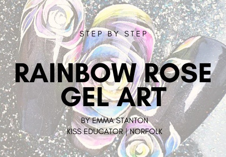 Step by step for a rainbow rose gel design