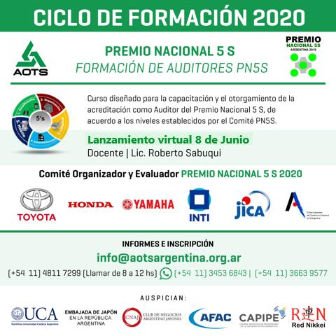 """CURSOS VIRTUALES AOTS ARGENTINA 2020 """"Formación de Auditores del PN5s"""""""