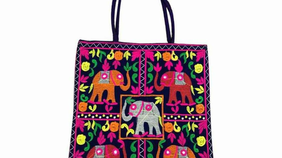 Elephant Embroidered Tote Bag