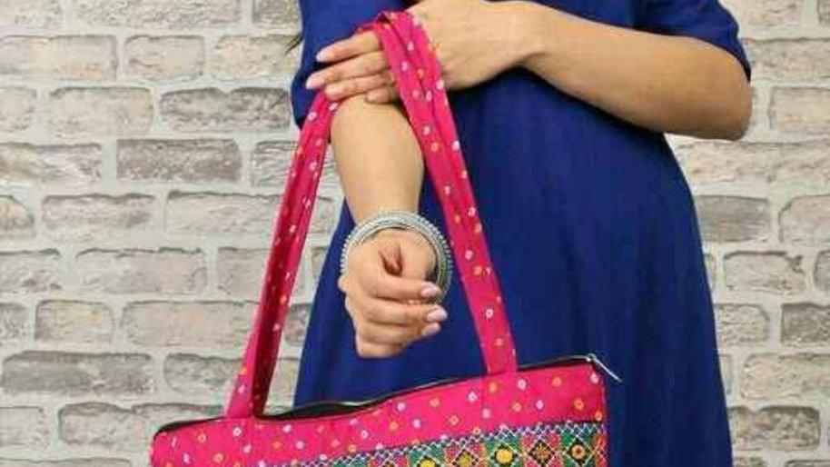 Printed Pink Chanderi Bag