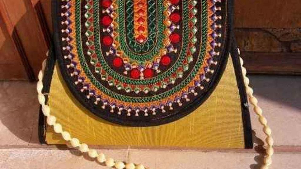 Golden Chanderi Bag
