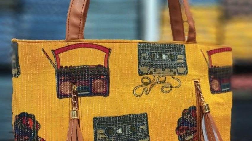 Printed mustard tote bag