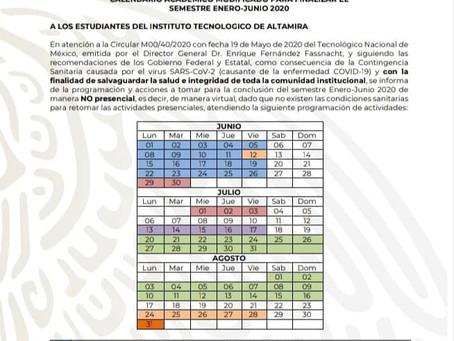 Calendario Académico Modificado para finalizar el semestre Enero-Junio 2020
