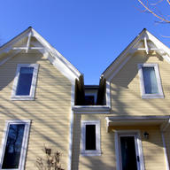 Left Original | Right addition | matching roof and historic detail