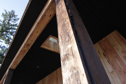 Shou sugi ban treated juniper posts and lined skylights
