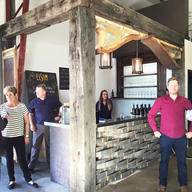 Salvaged timber frame cafe space