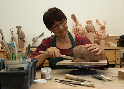 working on hare sulpture