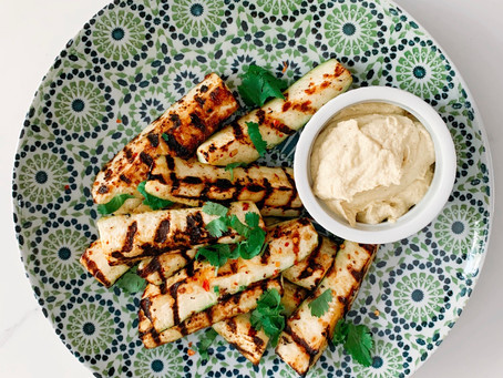 Zesty Char-Grilled Zucchini With Curried Cashew Dip