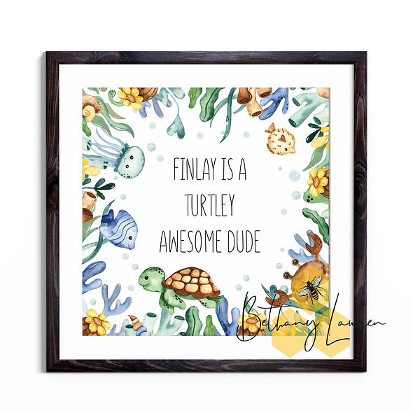Turtley Awesome Dude - Personalised Square Print