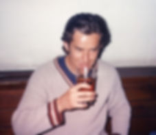 Clive Hathaway Travis enjoying a beer in University of Surrey Student Union c 1988