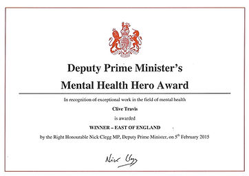Clive Hathaway Travis Deputy Prime Minister Mental Health Hero certificate