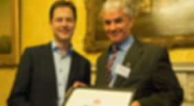 Rt Hon Nick Clegg investing Clive Hathaway Travis Deputy Prime Minister Mental Health Hero