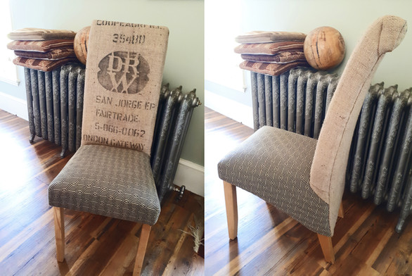Coffee sack dining chairs