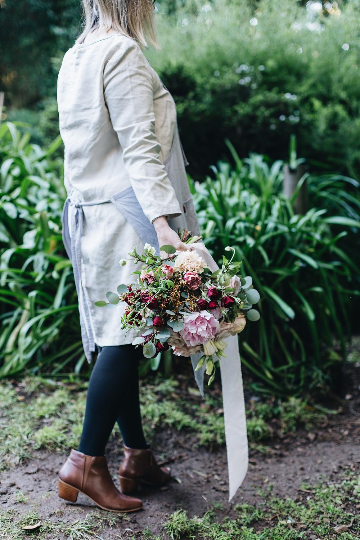 Creating natural organic gathered bridal bouquets