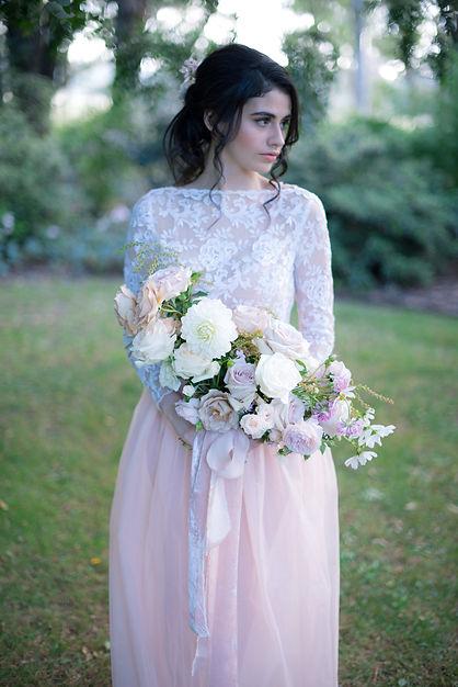 Gathered Floral fine art inspired wedding bouquet