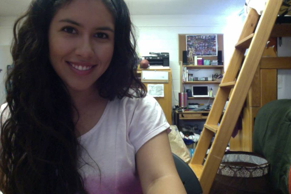 Sam in her dorm room at UCSD