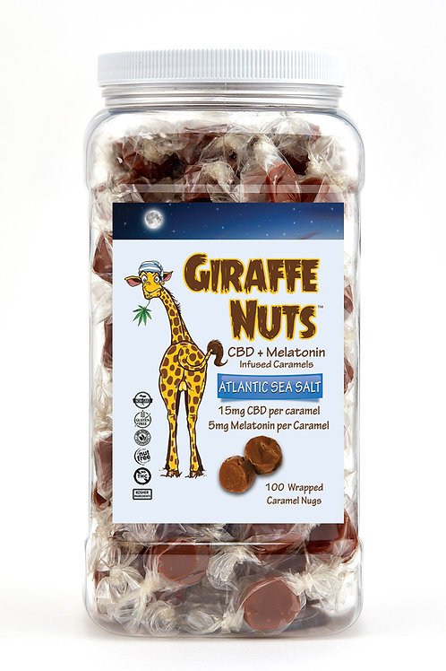 Giraffe Nuts Infused Caramels – Melatonin + Atlantic Sea Salt