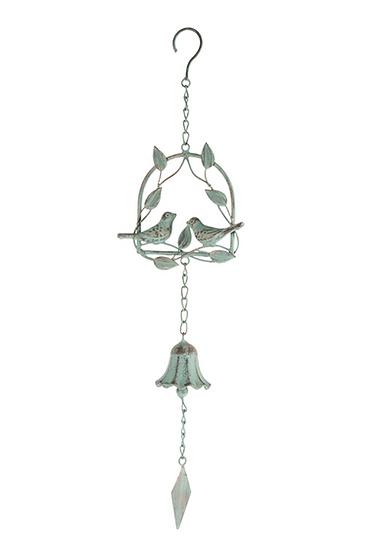 LOVEBIRDS ON LEAFY SWING HANGING BELL