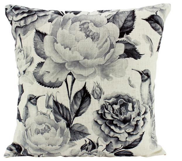 B&W Peonies Linen Cushion