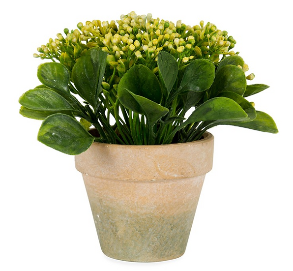 Potted Artificial Yellow Baby's Breath