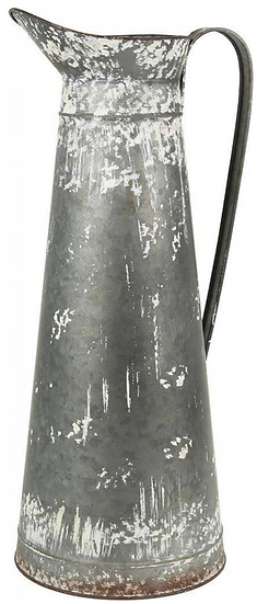 Tall Whitewash Metal Jug