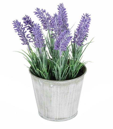 Artificial Lavender in Distressed Tin Pot