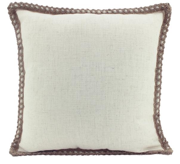 Beige Jute & Linen Cushion