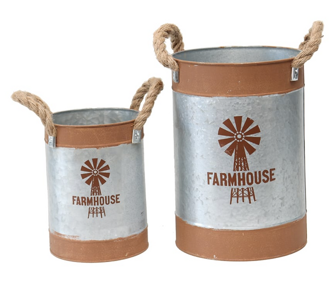 Farmhouse Windmill Bucket