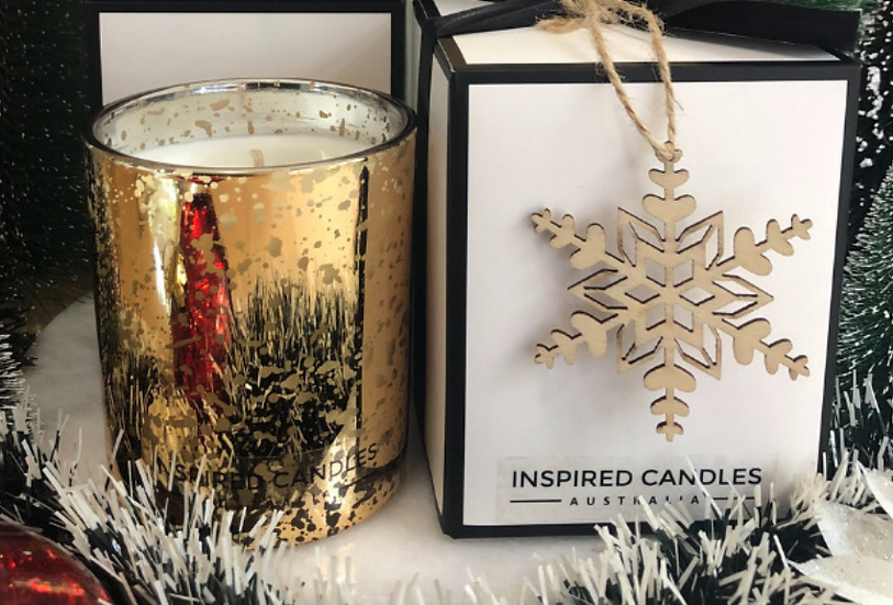 Christmas Cookies Gold Sparkle Candle