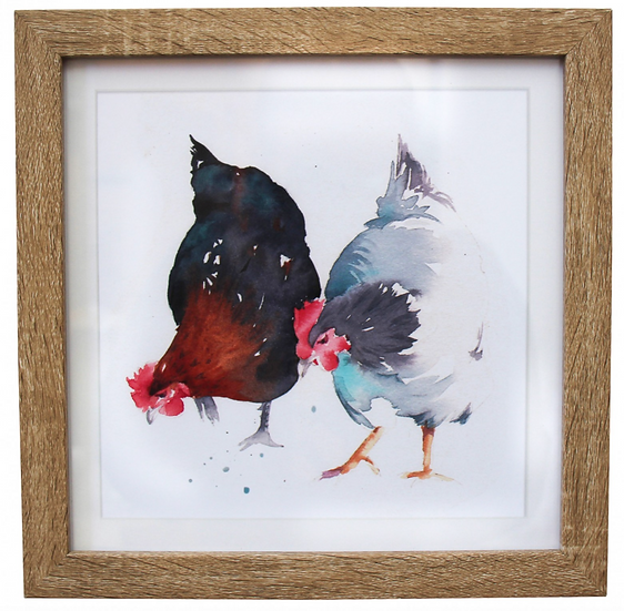 Two Chickens Pecking Art